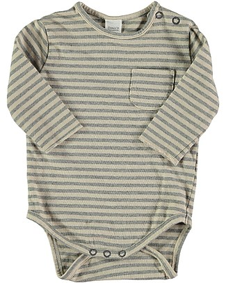 Bean's Barcelona Long Sleeves Striped Body Vermont, Stone - 100% organic cotton Long Sleeves Bodies