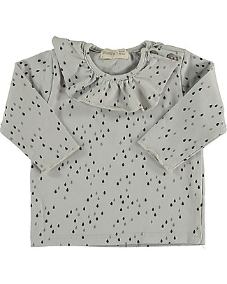 Bean's Barcelona Ocean Printed Girl T-shirt with Frills, Ice - Organic cotton Long Sleeves Tops