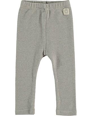 Bean's Barcelona Pinecone Striped Rib Leggins, Ice - Organic cotton Trousers