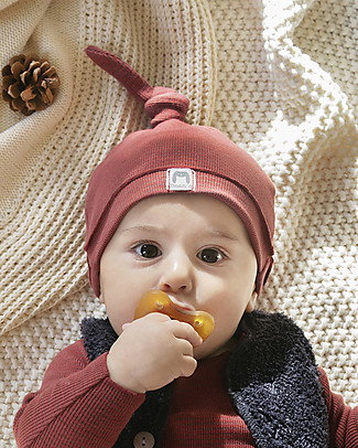 Bean's Barcelona Rib New Born Cap Fog, Tile - Organic Cotton Winter Hats