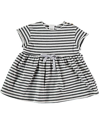 Bean's Barcelona Short Sleeved Striped Dress Genova, White - Organic cotton Dresses