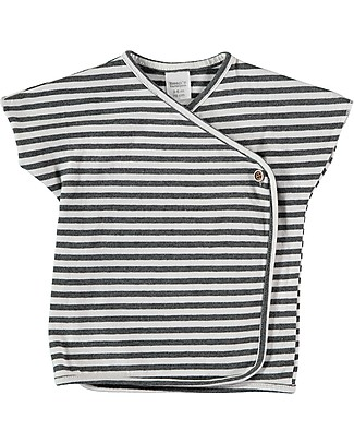 Bean's Barcelona Striped Asymmetric T-shirt Cadaqués, White - Organic cotton T-Shirts And Vests