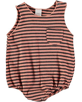 Bean's Barcelona Striped Baby Romper Boccadasse, Peach - Organic cotton Short Sleeves Bodies