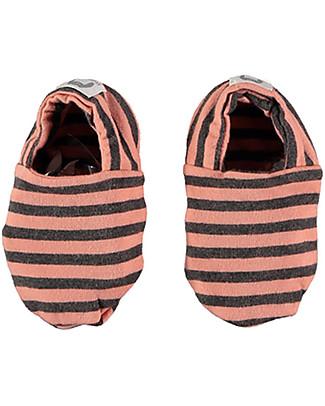 Bean's Barcelona Striped Baby Shoes Saint Tropez, Peach - Organic cotton Shoes