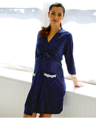 Belabumbum Dottie Robe - Navy with White Polka Dots Robes