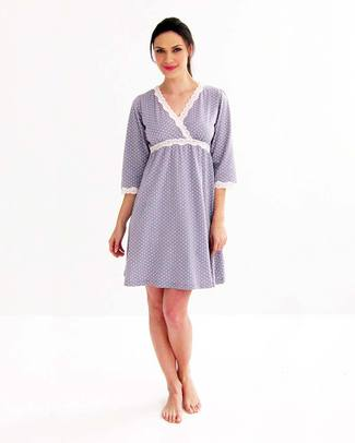 Belabumbum Maternity and Nursing Kimono Nightgown - Grey with Polka Dots - 100% Pima Cotton Nightdress