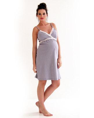 Belabumbum Maternity and Nursing Nightgown - Pale Grey with Polka Dots - 100% Pima Cotton Nightdress