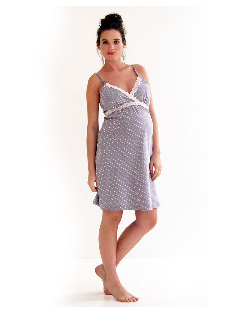 Belabumbum Maternity and Nursing Nightgown - Pale Grey with Polka ...