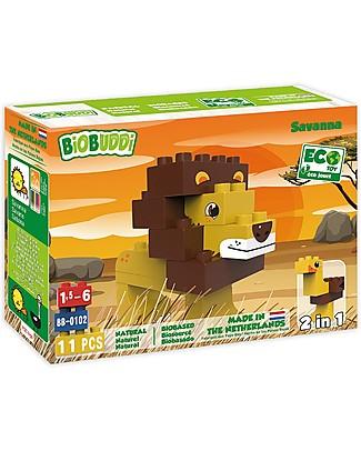 BioBuddi Eco Building Blocks Wildlife 2 in 1, Savannah - 12 blocks Building Blocks