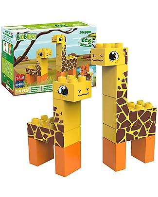 BioBuddi Eco Building Blocks Wildlife 2 in 1, Steppe - 14 blocks  Building Blocks