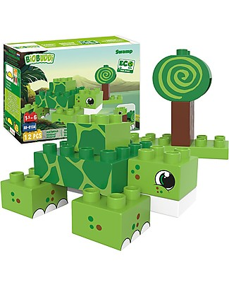 BioBuddi Eco Building Blocks Wildlife 2 in 1, Swamp - 12 blocks  Building Blocks