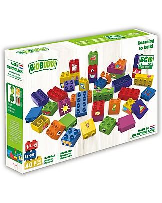 "BioBuddi Eco-friendly Building Blocks ""Learning to Build"" - 40 blocks  Building Blocks"