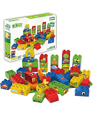 "BioBuddi Eco-friendly Building Blocks  Learning to Create"" - 40 blocks with base  Building Blocks"