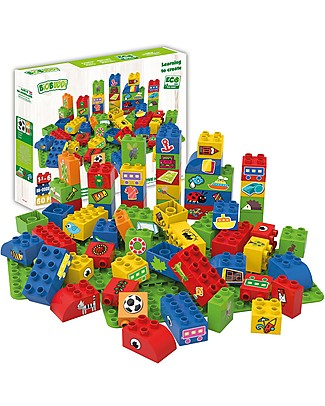 "BioBuddi Eco-friendly Building Blocks ""Learning to Create"" - 60 blocks with 2 bases Building Blocks"