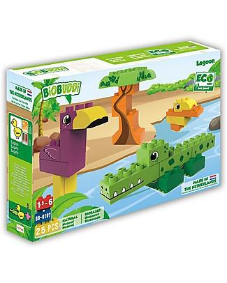 BioBuddi Eco-friendly Building Blocks Wildlife 3 in 1, Lagoon - 25 blocks Building Blocks