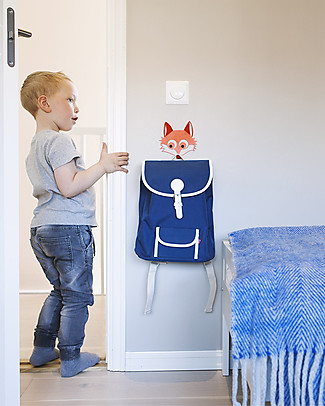 Blafre Backpack for Children aged 5-10 years, Dark Blue - Water-resistant, real leather details Large Backpacks