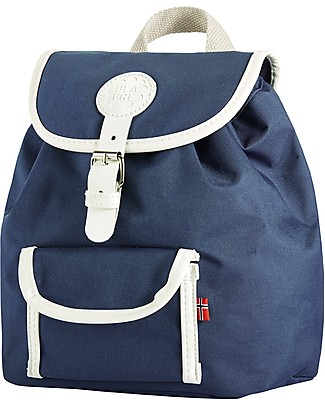Blafre Children Backpack 25 x 26 x 25.5 cm, Dark Blue - Water-resistant, real leather details Small Backpacks