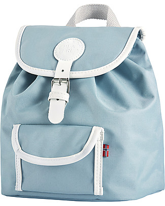 Blafre Children Backpack 25 x 26 x 25.5 cm, Light Blue - Water-resistant, real leather details Small Backpacks