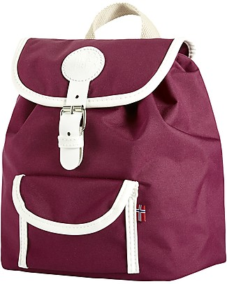Blafre Children Backpack 25 x 26 x 25.5 cm, Plum - Water-resistant, real leather details null