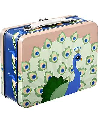 Blafre Metal Briefcase 19.5 x 17 x 8 cm, Peacock - Food-safe! Lunch Boxes in Metal