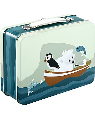 Blafre Metal Briefcase 19.5 x 17 x 8 cm, Puffin – Food-safe! Lunch Boxes in Metal