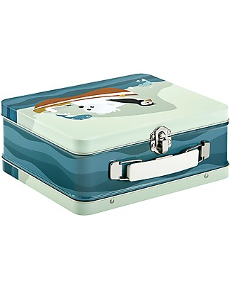 Blafre Metal Briefcase 19.5 x 17 x 8 cm, Puffin - Food-safe! Lunch Boxes in Metal