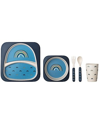 Bloomingville Henry Serving Set, Blue Rainbow - Bamboo Meal Sets