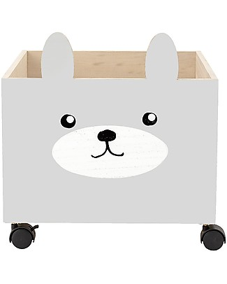 Bloomingville Storage Box with Wheels, Rabbit - Paulownia Wood Toy Storage Boxes
