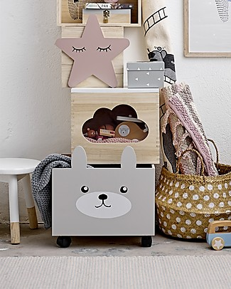 Bloomingville Storage Box with Wheels, Rabbit - Paulownia Wood Toy Storage Boxes