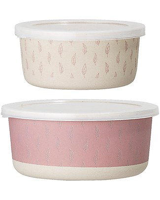 Bloomingville StorageBox Set of Two, Rose - Bamboo Snack and Formula Containers