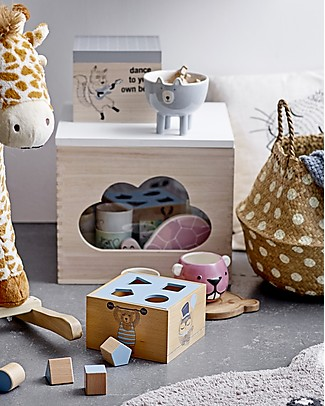 Bloomingville StorageBox with Lid, Cloud - Paulownia Wood Toy Storage Boxes