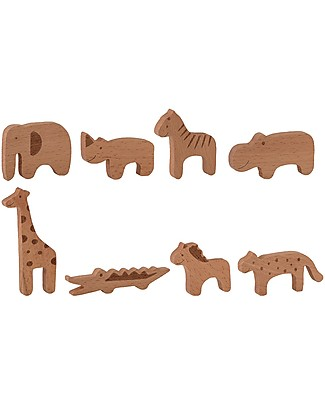 Bloomingville Toy Animal Set, Natural - Beech Wood Wooden Blocks & Construction Sets