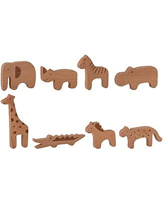 Bloomingville Toy Animal Set, Natural - Beech Wood Wooden Blocks & Construction Sets