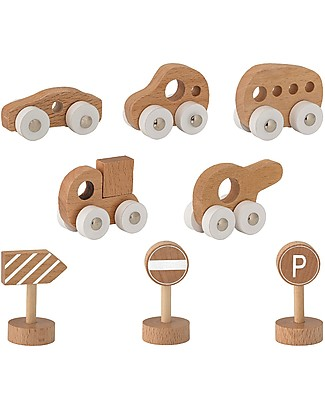 Bloomingville Toy Car and Road Sign, Natural - Beech Wood Wooden Toy Cars, Trains & Trucks