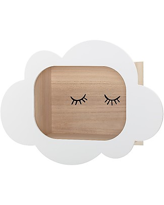 Bloomingville Wooden Wall Box Display, Cloud - 50x19x37 cm Shelves