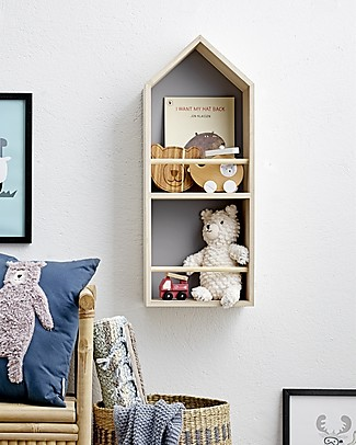Bloomingville Wooden Wall Shelf, Grey Home - 30x16x80 cm Shelves