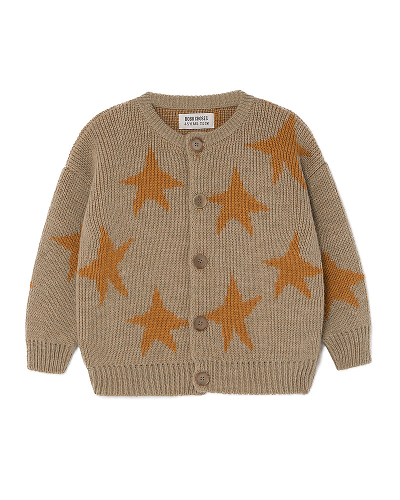 new style 2bfe3 55a25 Bobo Choses Jaquard Cardigan, Stars - Knitted in Geometric ...