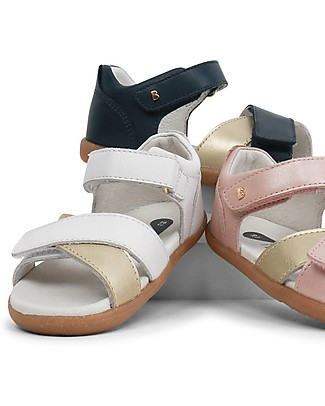 Bobux I-Walk Sail Sandal, White/Gold - Super flexible sole! Special Occasion