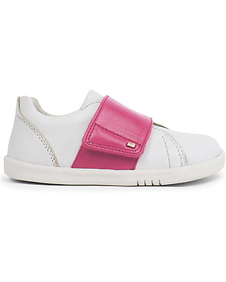 Bobux Kid Boston Shoe, White/Pink - Super flexible sole! Shoes