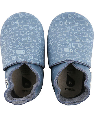 Bobux Soft Sole, Blue + Vehicles - The next best thing after bare feet! null
