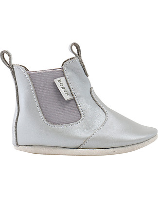 Bobux Soft Sole Booties, Silver - The next best thing after bare feet! null