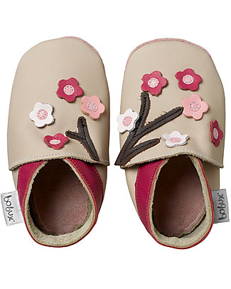 Bobux Soft Sole Grand (2-6 years), Beige with Blossom Flowers - The next best thing after bare feet! Shoes