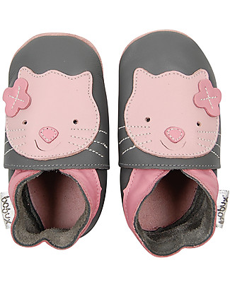 Bobux Soft Sole Grand (2-6 years), Grey with Kitten - The next best thing after bare feet! Shoes