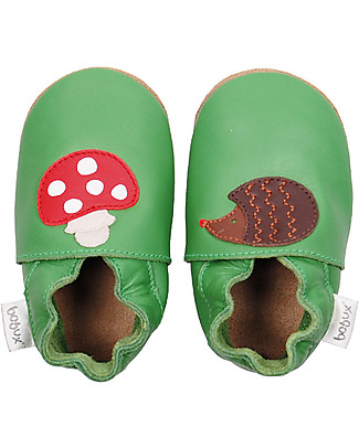Bobux Soft Sole Grand (3-6 years), Green with Toadstool and  Hedgehog - The next best thing after bare feet! null