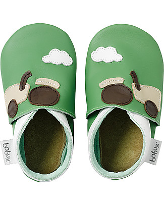 Bobux Soft Sole, Green with Tractor - The next best thing after bare feet! null