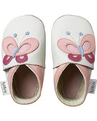 Bobux Soft Sole, Milk with Butterfly - The next best thing after bare feet! Shoes
