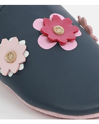 Bobux Soft Sole, Navy with Flowers - The next best thing after bare feet! Bobux Soft Sole