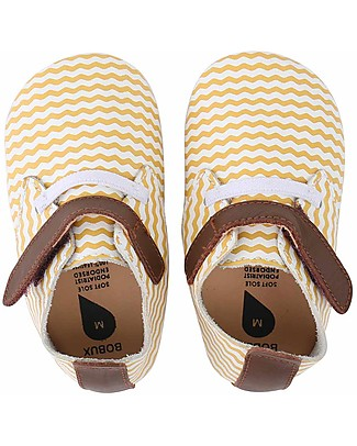 Bobux Soft Sole, White Beige Chevron with Stretch - The next best thing after bare feet! Shoes