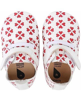 Bobux Soft Sole, White/Red Heart with Stretch - The next best thing after bare feet! Shoes