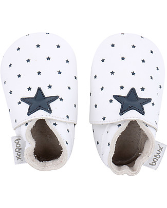 Bobux Soft Sole, White with Navy Star Print - The next best thing after bare feet! Shoes